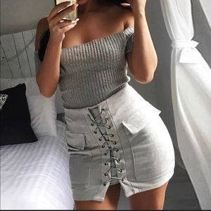 Suede silver lace up skirt